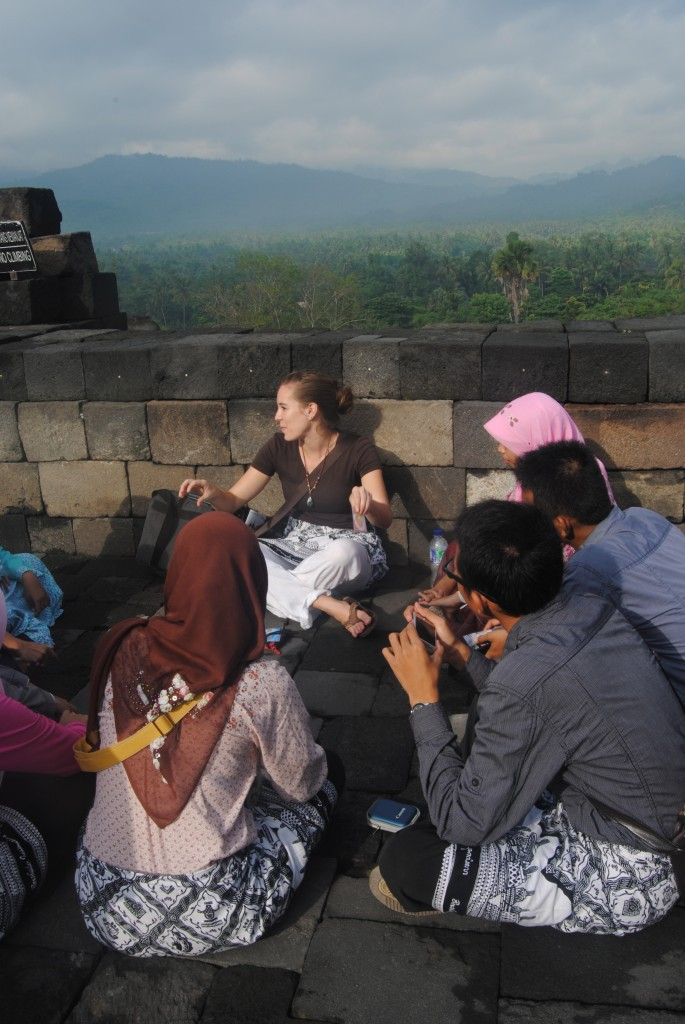 A Cruising Couple New Friends, Borobudur