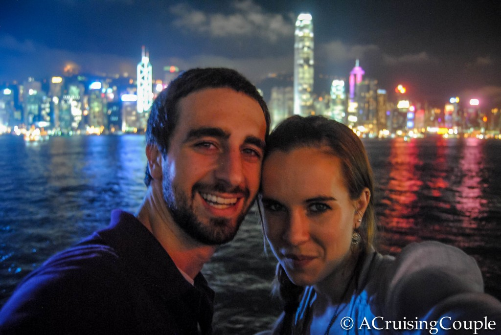 A Cruising Couple Tsim Sha Tsui Victoria Harbor Hong Kong Skyline