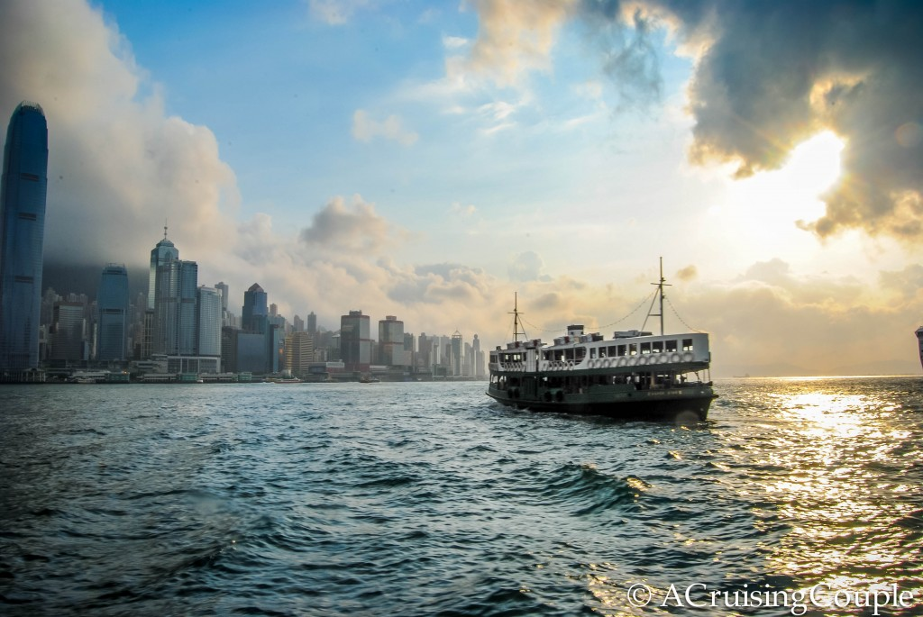 Star Ferry Sunset Victoria Harbor Hong Kong Skyline