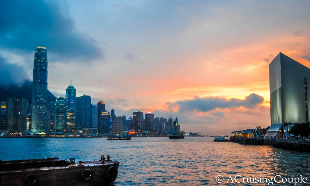 Victoria Harbor Sunset Hong Kong Skyline