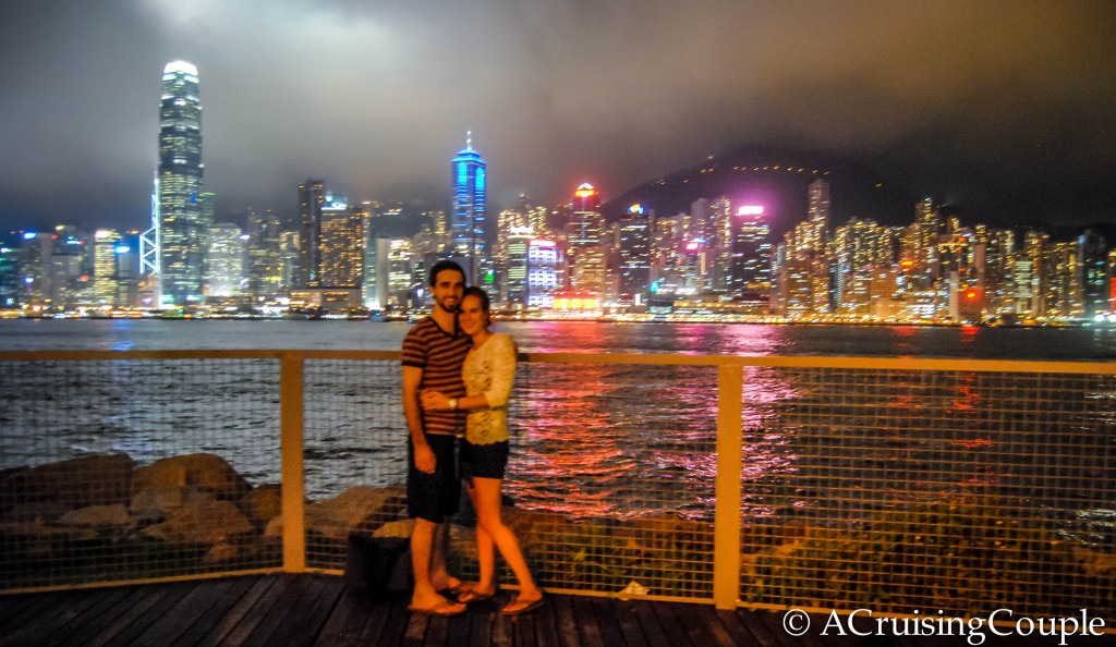 Victoria Harbor West Kowloon Promenade Hong Kong skyline