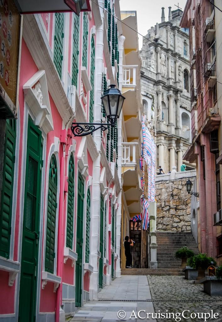 Ruins of St Paul's and Pastel Houses Macau