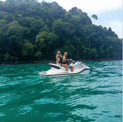 A Cruising Couple Jet Skiing