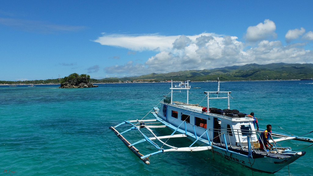 The ferry from the mainland to the island of Boracay.