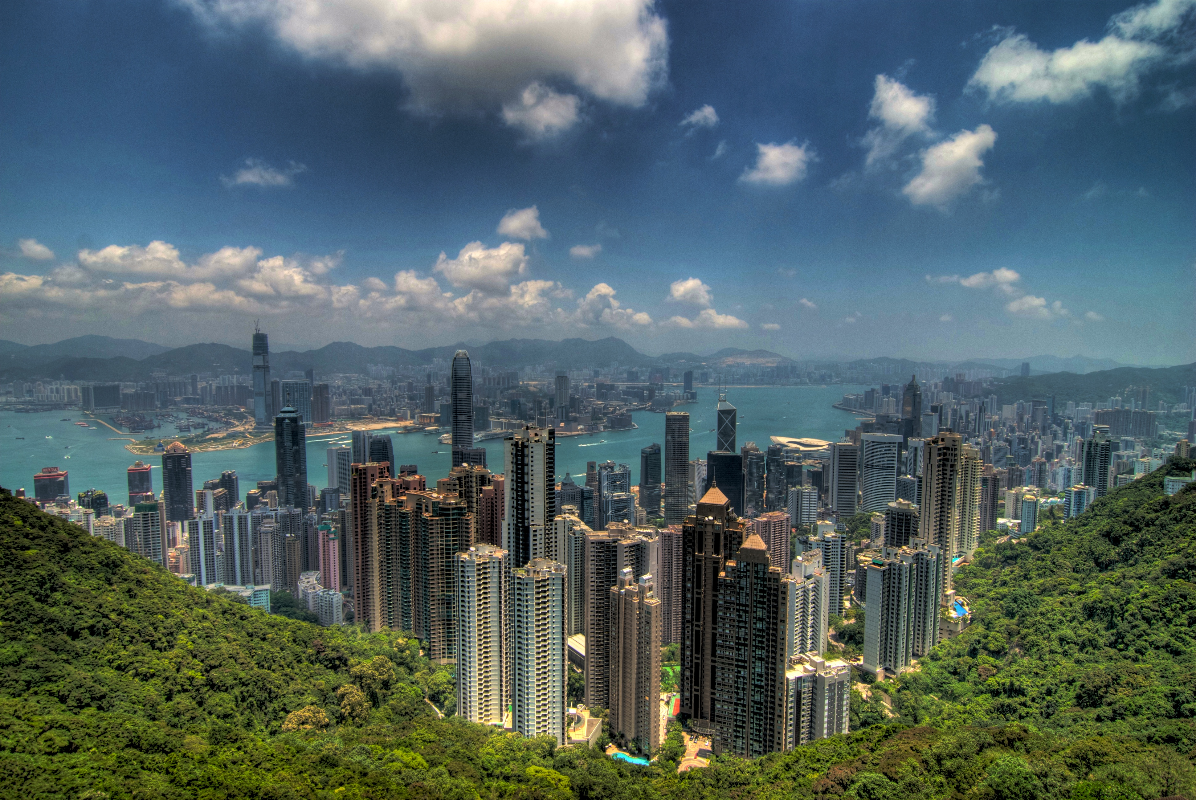 The view of Hong Kong from the top of Victoria Peak.